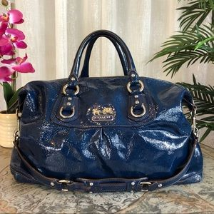 COACH Madison Sabrina Blue Patent Satchel 14179